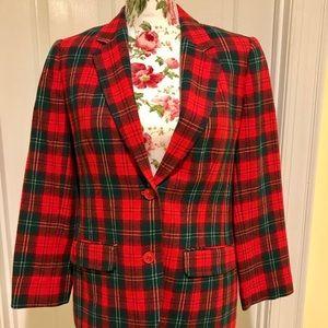 Pendleton red plaid wool blazer size 4P